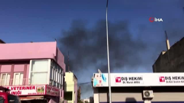 Ceylanpınar'da bir eve roket düştü evde yangın çıktı