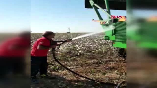 Şanlıurfa'da Alev Alan Biçerde 5 ton Pamuk Kül Oldu