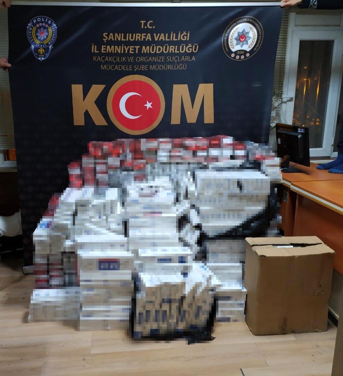 Şanlıurfa'da 10 bin 200 paket kaçak sigara ele geçirildi